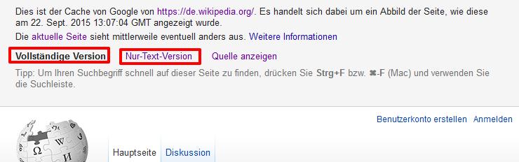 google-cache-versionen