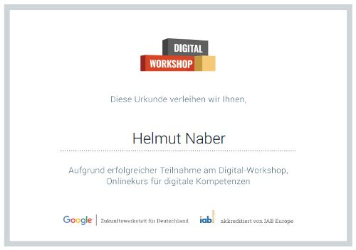 Google Digital Workshop Zertifikat