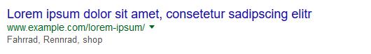 Schlechtes Beispiel für eine Meta Description: zu kurz.