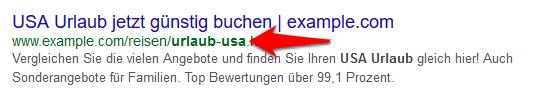 Desktop Suche Google Keyword in URL fett