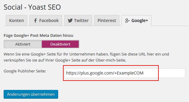 Website Google Plus verknüpfen