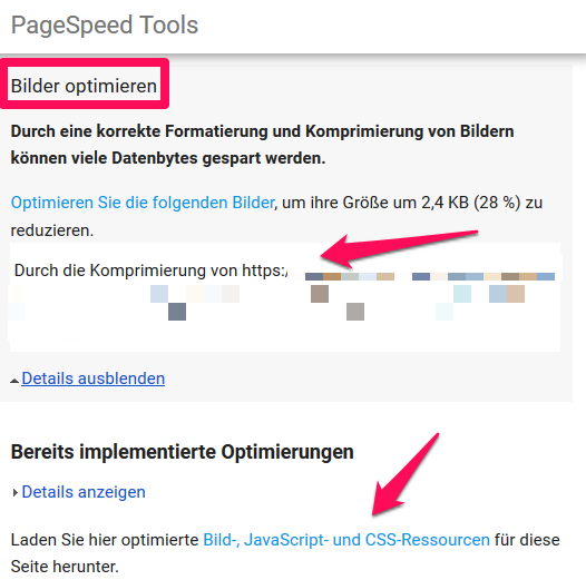 Bilder optimieren mit Google PageSpeed Tools
