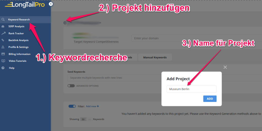 Long Tail Pro Keywordrecherche neues Projekt