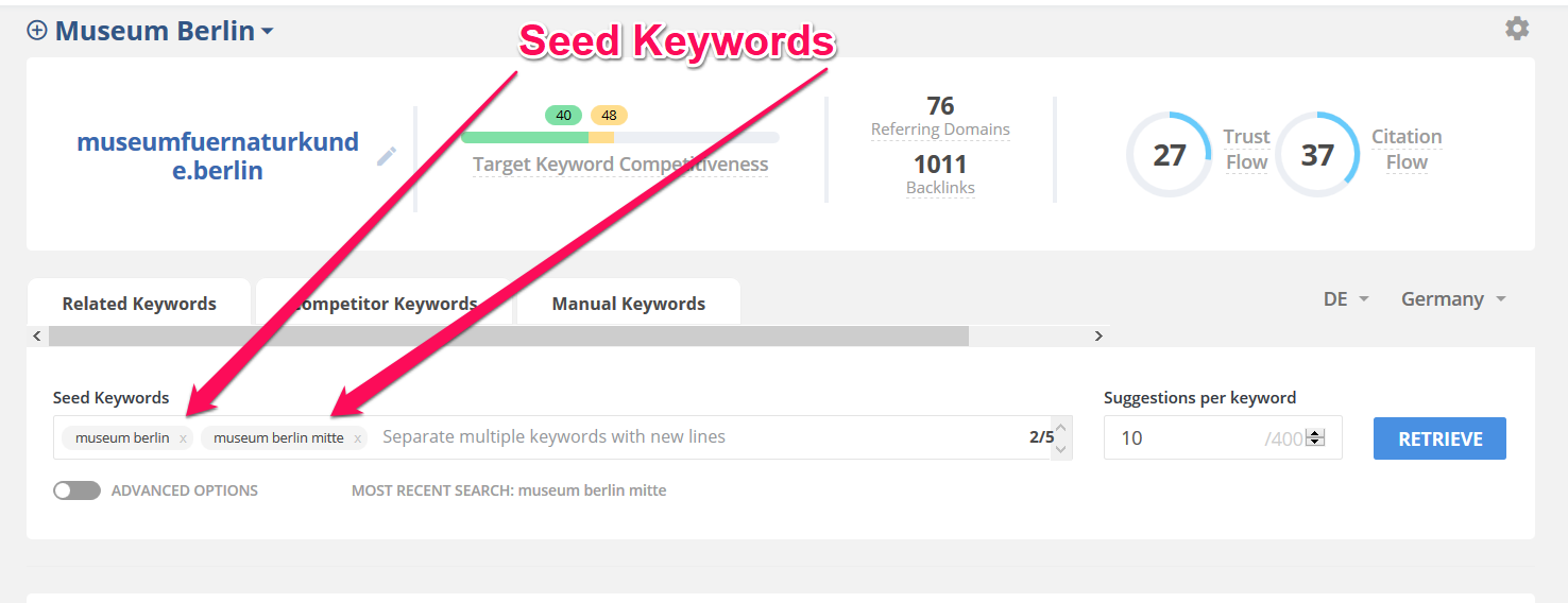 Seed Keywords festlegen