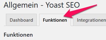 WordpPess Yoast Menü Funktionen