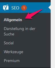 WordPress Yoast Menü SEO Allgemein