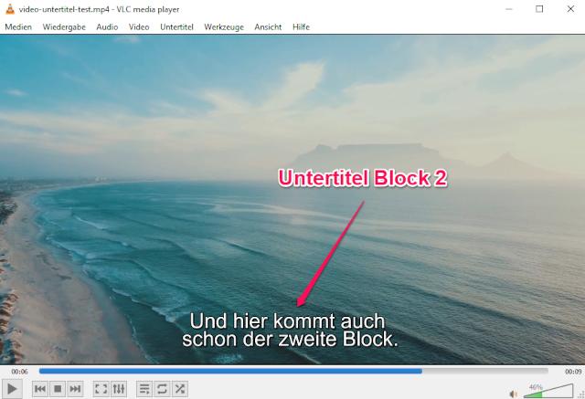 SRT-Datei mit VLC media Player testen