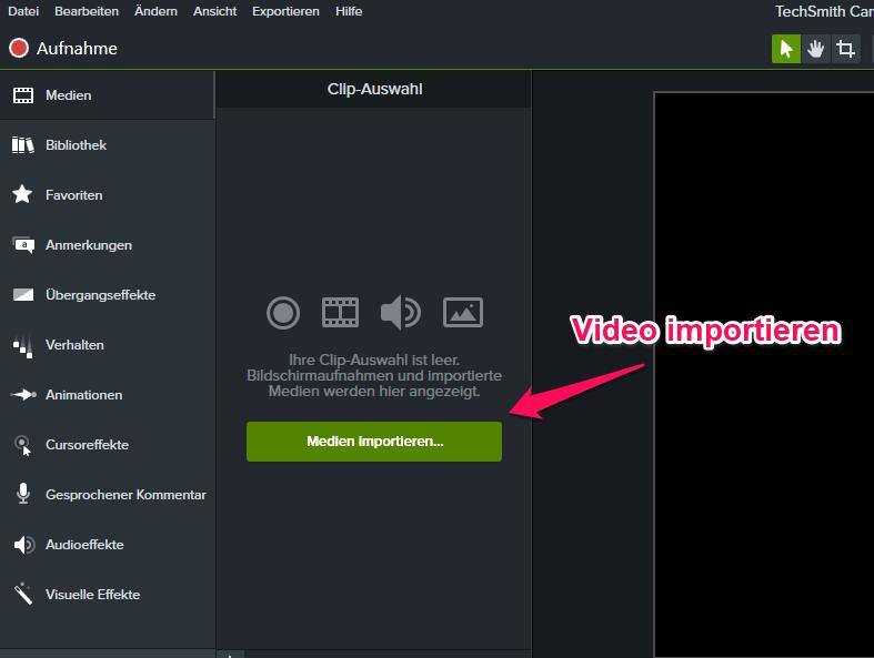 Camtasia Video importieren 1