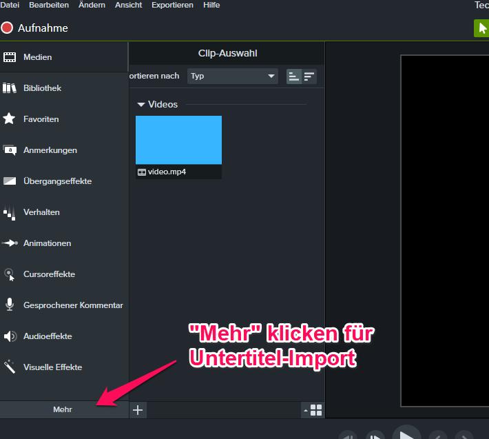 Camtasia Video importieren 3